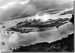 Attack on Pearl Harbor from a Japanese planes view