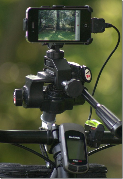 iPhone 4 mounted on bike for video