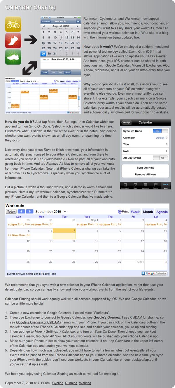 Cyclemeter Calendar Sharing