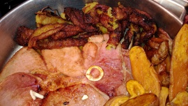 Ham, [plantain & sweet potatoes]