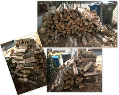 Move this wood pile to the firewood rack