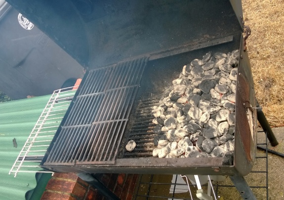 The grill is ready--coals are hot...
