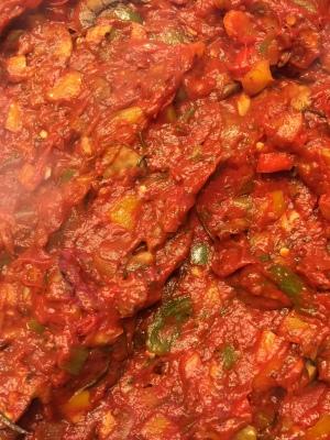 Veggie medley, secret ingredient, & tomato paste & tomato paste added...