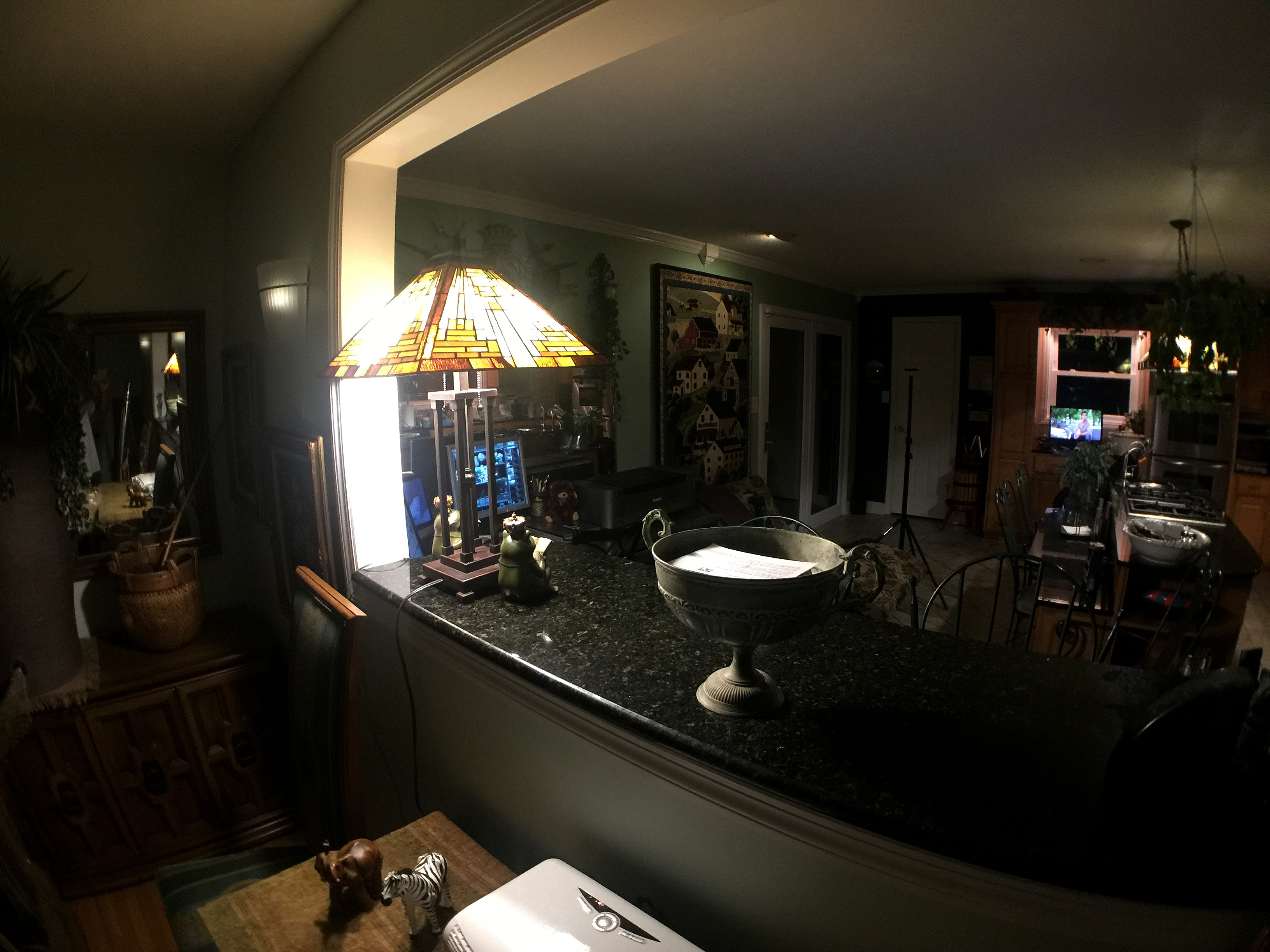 Decorating ~ Family Room, added a lamp, pano+, 09/03