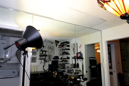 """Note the 2' x 4' x 1/2"""" Plywood board on the ceiling. It will hold my bike hoist."""