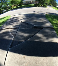 This broken driveway = Stress