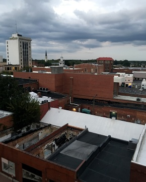 Looking to the southeast--old First Citizens Bank Buiilding, First Presbyterian Church, and the Market House