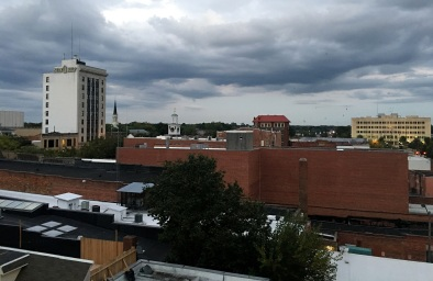 Looking to the southeast--old First Citizens Bank Buiilding, First Presbyterian Church, the Market House, and the Court House
