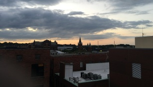 Looking to the northwest--Hay Street United Methodist Church with the spires