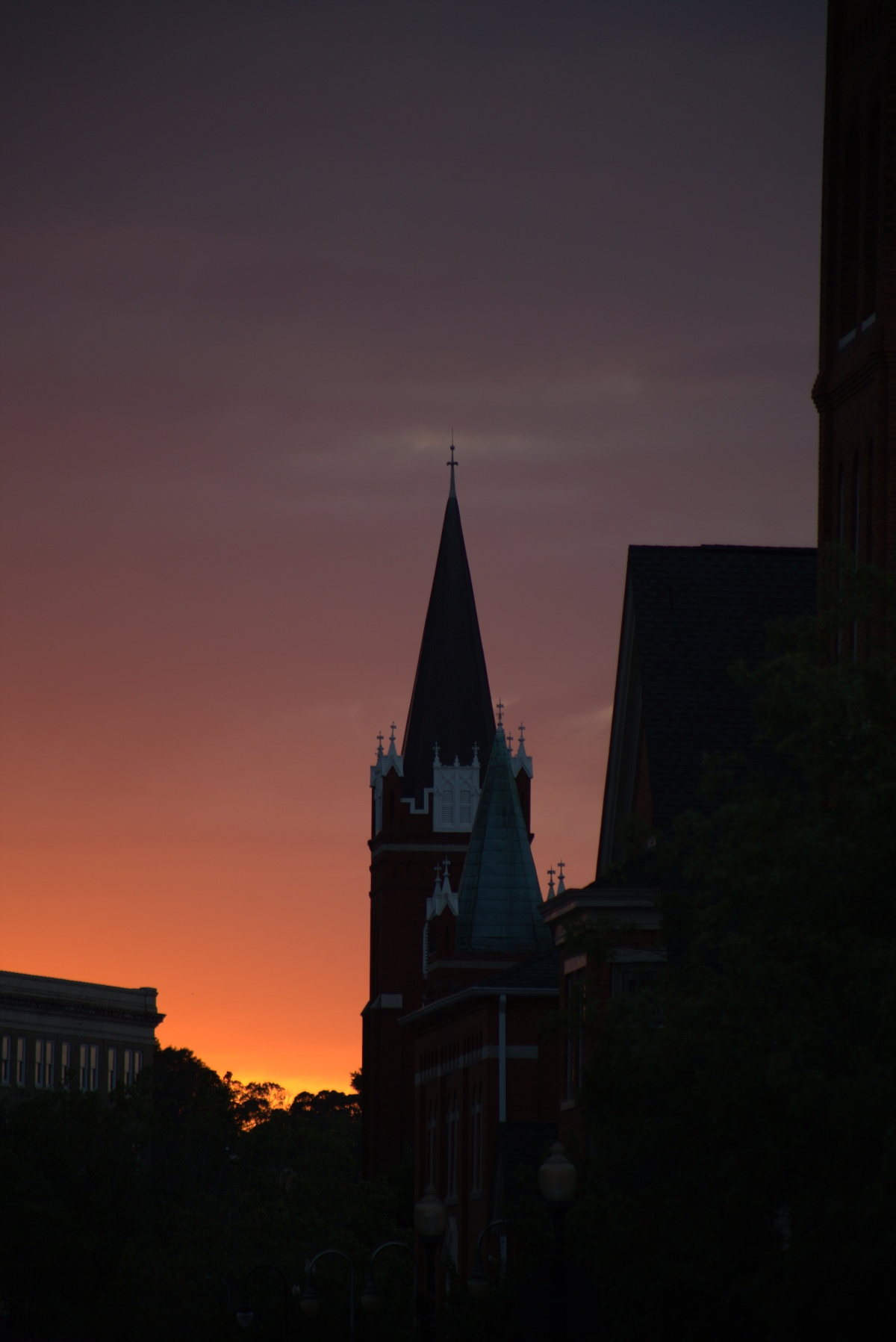 Photography ~ Looking West at sunset along 3 blocks of Old Street, Fayetteville, North Carolina, 09/17