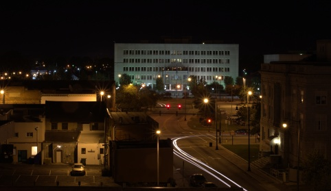 Looking east past the old court house to the new courthouse