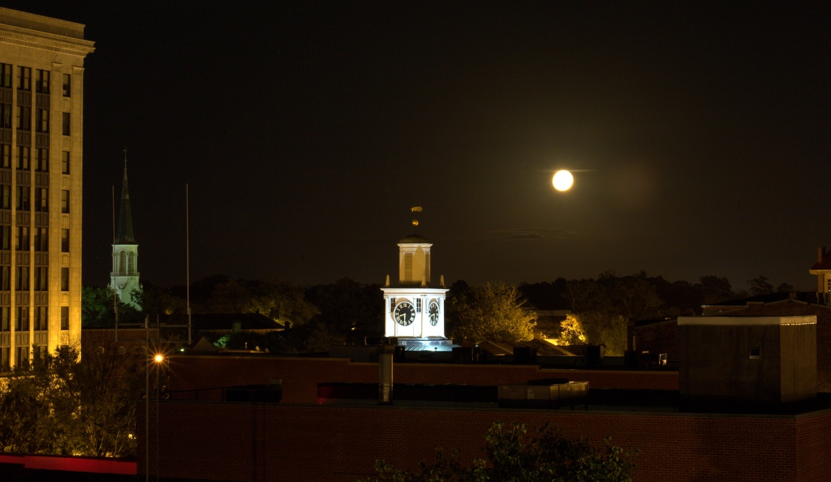 Photography ~ From the 5th Level of the Fayetteville Parking Deck–and then there is the Moon, Fayetteville, North Carolina,09/17