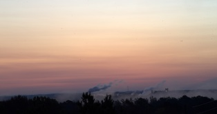 9 minutes before sunrise @ 6:48--Cargill Plant in the distance--a still breezy