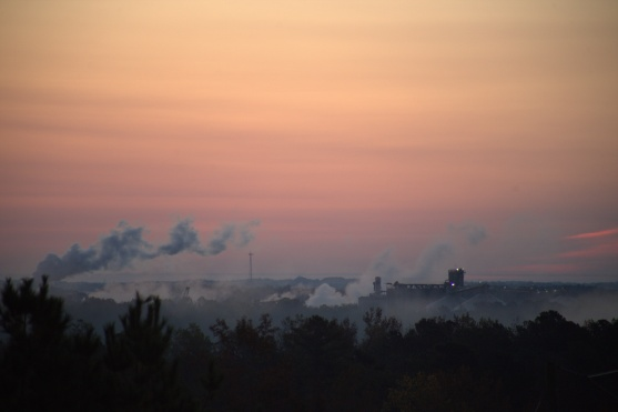 5 minutes before sunrise @ 6:48--Cargill Plant in the distance--a bit breezy over there
