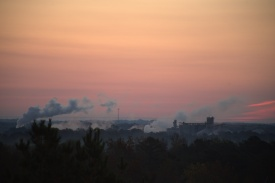 1 minutes before sunrise @ 6:48--Cargill Plant in the distance--sun rise to the right of the plant