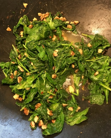 Spinach & kale, with black walnuts