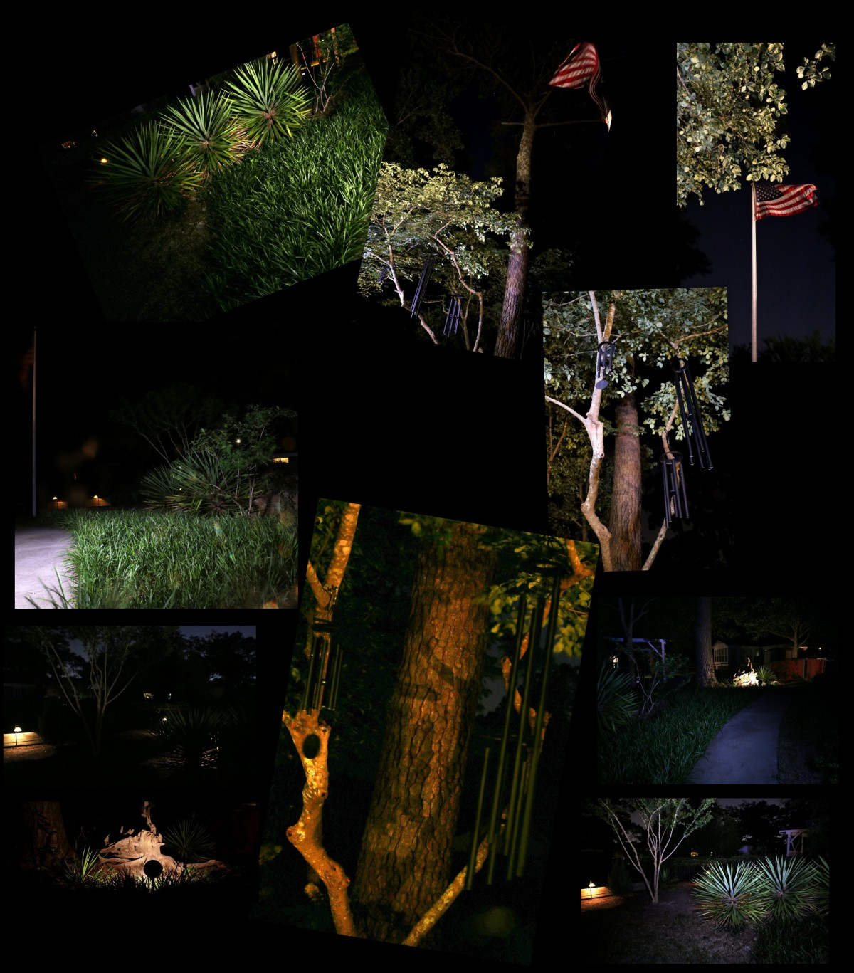 Photography ~ Night–Backyard Landscaping Collage, 05/19