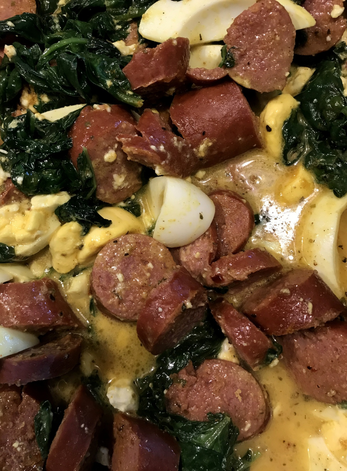 Dinner ~ Spinach & Kale, with Kielbasa by jalex–It was SO GOOD! 05/09