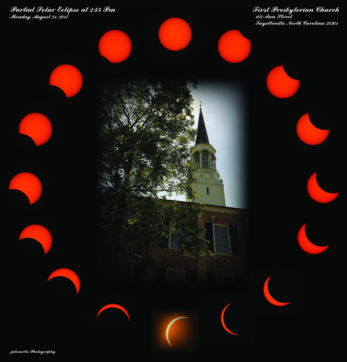 Keepsake for my Partial Solar Eclipse Host–First Presbyterian Church, Fayetteville, North Carolina, 08/21