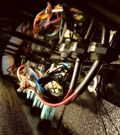 Relays, switches, & wires for 4 light bars & 2 floods from the passenger side, including reflections