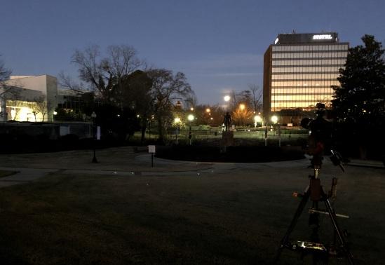 Downtown, looking westward at the moon