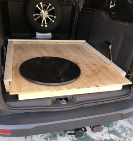 tray in base in van, with Lazy Susan