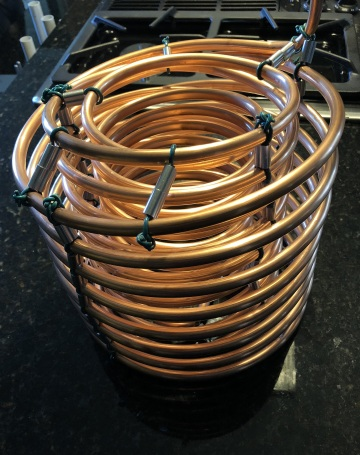 copper coils with spacers so ice more easily cools more surface area