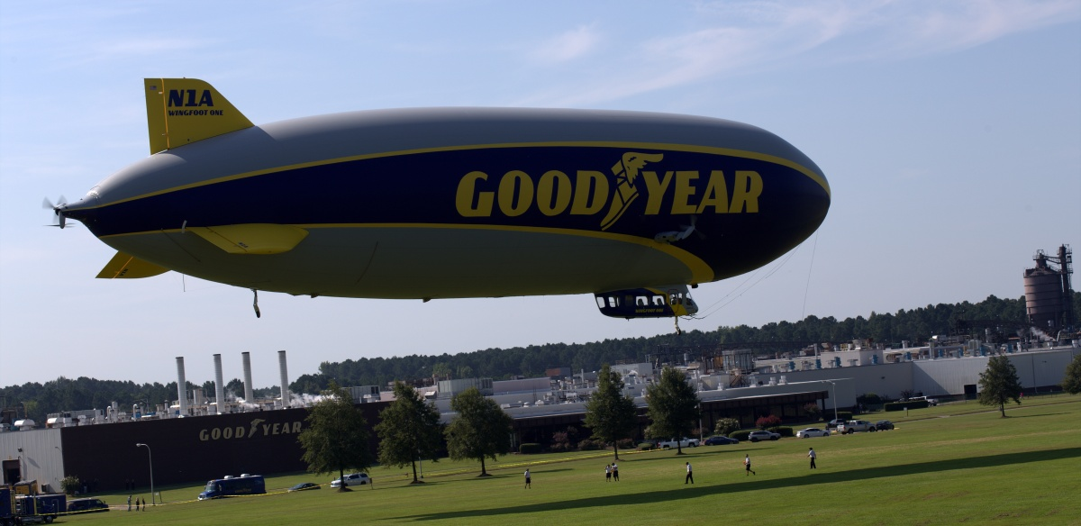 Event ~ Goodyear Blimp Wingfoot One departs the Fayetteville, North Carolina Goodyear Plant, 08/30