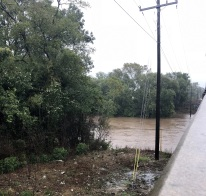 Person Street Bridge over the Cape Fear River in Fayetteville, North Carolina with the river above its 35-foot flood stage