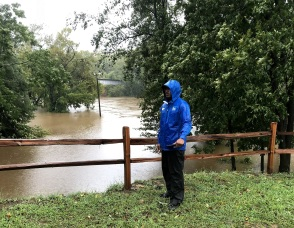 A Weather Channel Live Shot near the Person Street Bridge over the Cape Fear River in Fayetteville, North Carolina