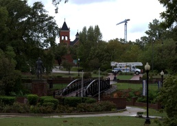 Cross Creek Park looking west towards the 180-foot construction crane, Fayetteville, North Carolina