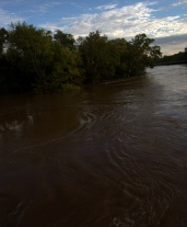 A flooded Cape Fear River 25-feet over flood stage of 35-feet